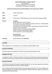 Minutes of the Extraordinary General Meeting